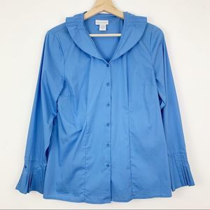 Soft Surroundings Pleated Button Down M Top Blue